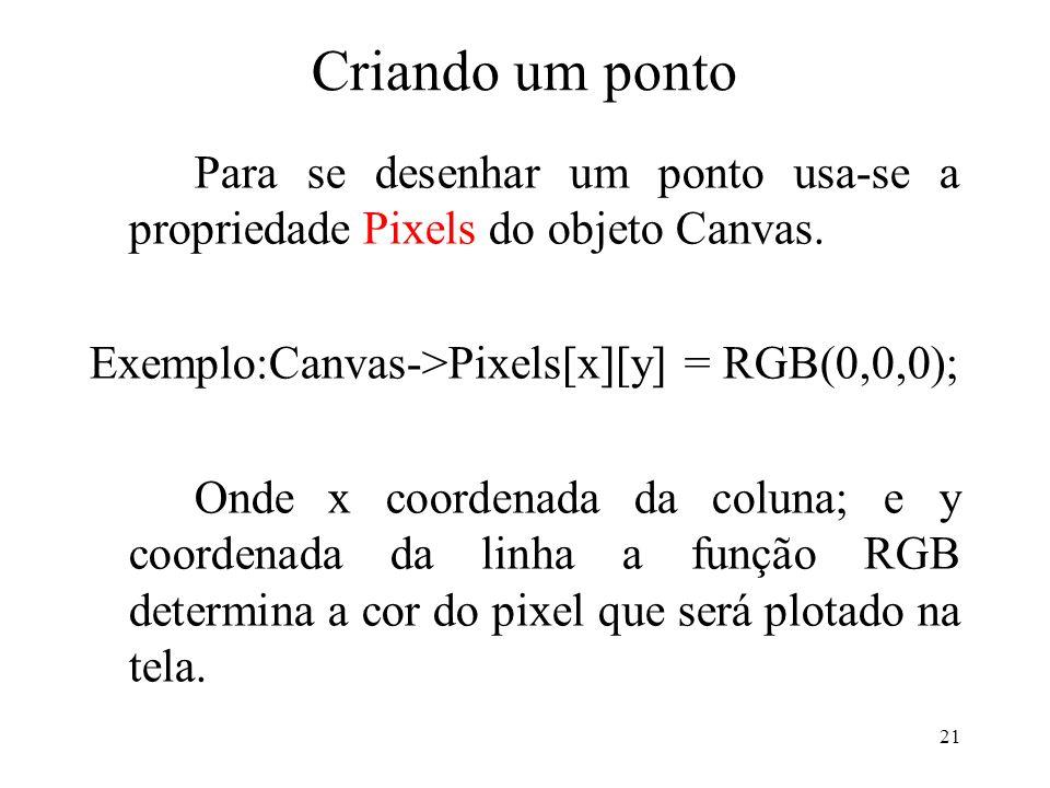 Criando um ponto Para se desenhar um ponto usa-se a propriedade Pixels do objeto Canvas. Exemplo:Canvas->Pixels[x][y] = RGB(0,0,0);